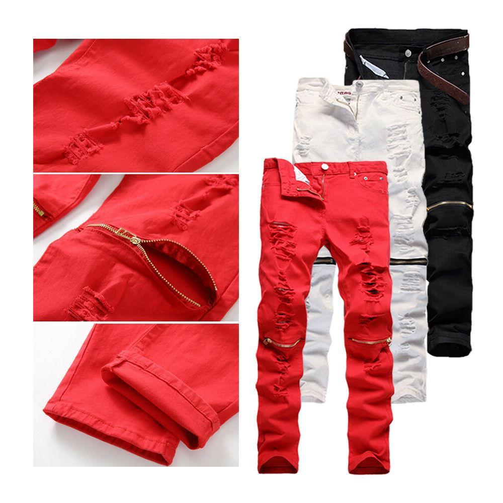Trendy Skinny Pants Zipper Ripped