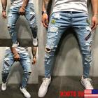 US Men Stretchy Ripped Skinny Biker Jeans Destroyed Taped Pa