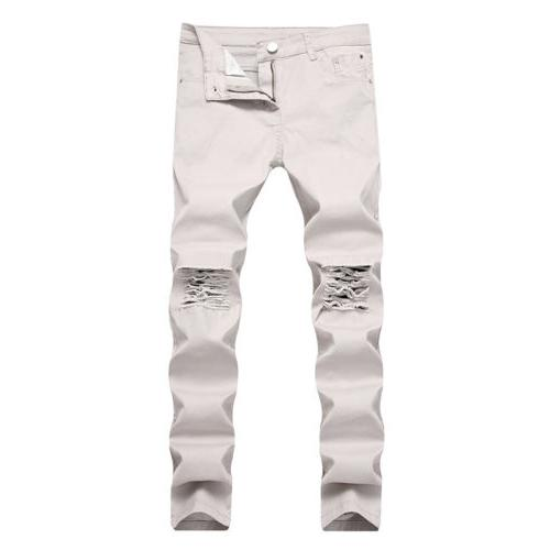 Men's Denim Jeans Destroyed Ripped Skinny Pants