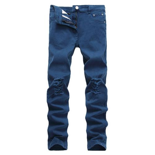 Men's Denim Jeans Destroyed Skinny Trousers