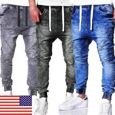 us mens joggers jeans drawstring slim fit
