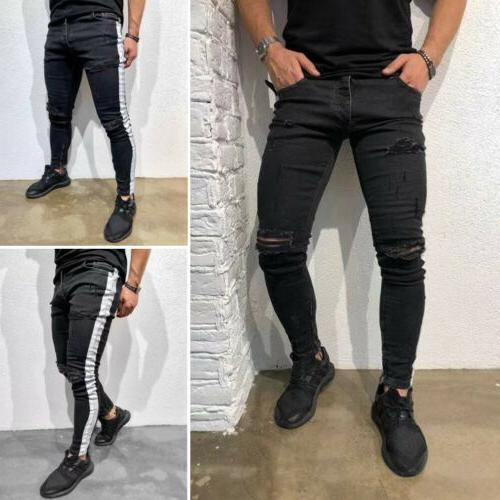 US Mens Ripped Skinny Jeans Frayed Slim Fit Trousers 28-36