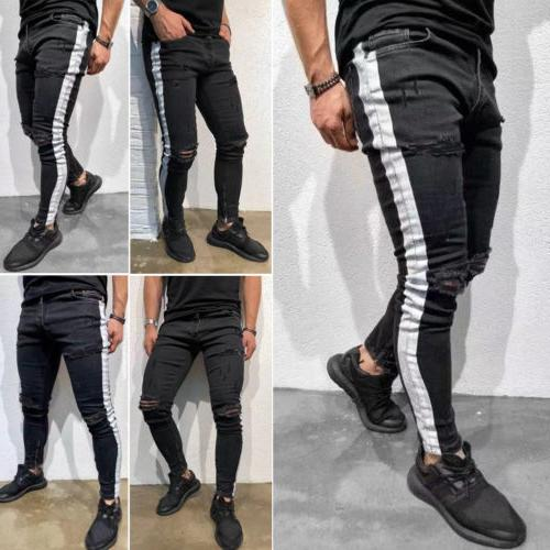 US Mens Ripped Skinny Destroyed Slim Fit Size 28-36
