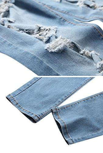OKilr Pjik Light Blue Skinny Fit Destroyed Distressed Stretch Jeans