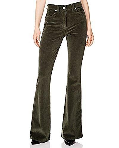 waist flare corduroy jeans forest