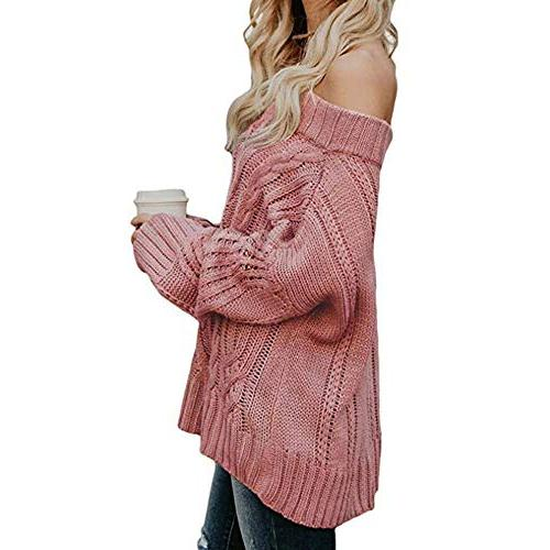 POHOK Sexy Sleeve Sweaters Off Loose Pullover
