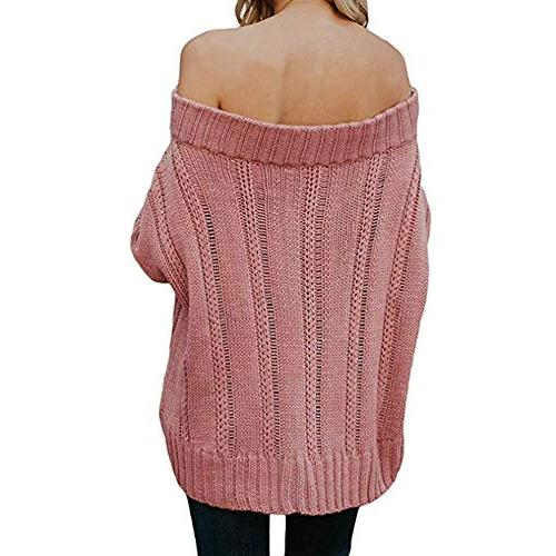 POHOK Sleeve Sweaters Off Shoulder Loose Pullover Blouse