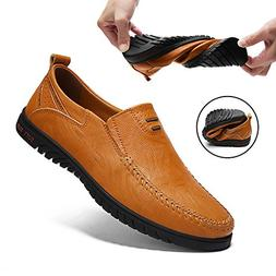 Sanyge Men's Leather Shoes Slip on Casual Loafers Driving Mo