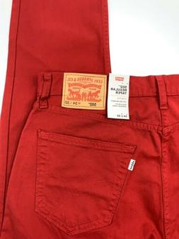 Levi's 502 Regular Taper Fit Low Rise Red Jeans Chinos Pants