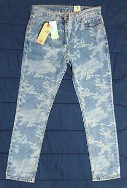 LEVI'S 511 BLUE CAMO Stretch Denim Slim Fit Cotton Tencel Je