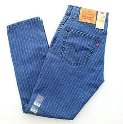 Levi's 511 Jeans Men's Stretch Slim Fit Pinstriped Blue Deni