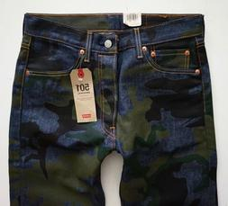 Levi's Levis Nwt 501 Shrink to Fit Indigo Blue Camo Jeans Bu