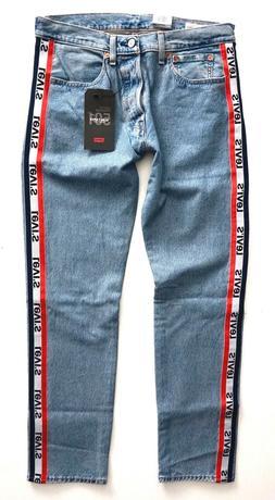 Levi's Levis Nwt Mens 501 Logo Taper Sports Stripe Jeans Lig