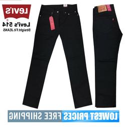 Levi's Men's NWT 514 Straight Fit Stretch All Black Jeans wi