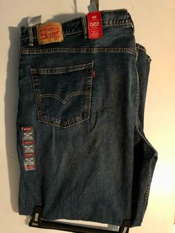 LEVI'S MENS 550 BIG AND TALL RELAXED FIT STRETCH RINSED BLUE