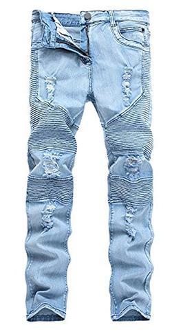 Qazel Vorrlon Men's Light Blue Skinny Ripped Jeans Destroyed