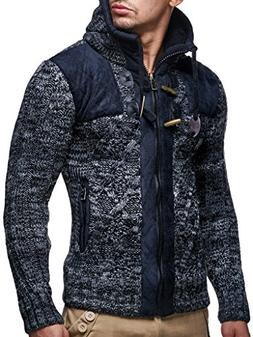 Leif Nelson LN20525 Men's Knit Zip-up Jacket with Geometric