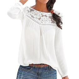 POHOK Women Long Sleeve Casual Lace Patchwork Tops Blouse