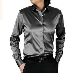 Bikifree Hot sale long sleeve casual loose silk men shirt th