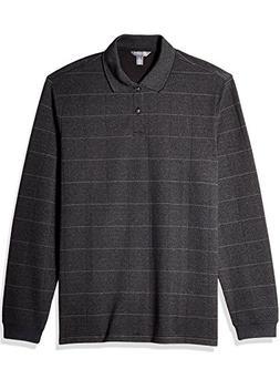 Van Heusen Men's Long Sleeve Jaspe Polo, Colorblock Black, S