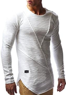 LEIF NELSON mens long sleeve t-shirt sweater slim fit sweats