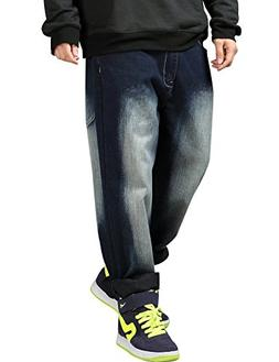 Yeokou Men's Loose Baggy Hip Hop Wash Denim Pants Straight L