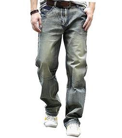 YOYEAH Men's Loose Relaxed Straight-Leg Korean Jeans 30 Blue