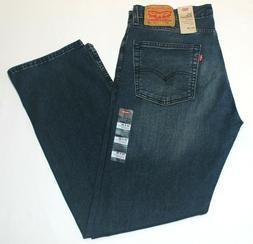 Men Authentic Levi's 513 Slim Straight Faded Dark Blue Stret