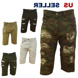 Men BIG and TALL Short Jeans Casual Twill Short Pants Insert