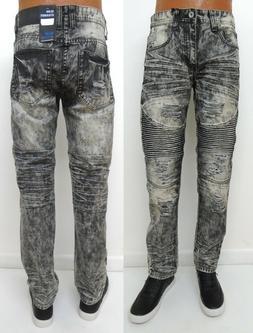 Men BLUE STITCH Black Grey Slim Straight Distressed rip Moto