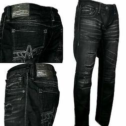 AFFLICTION Men Denim Jeans ACE APEX JASPER Embroidered Buckl