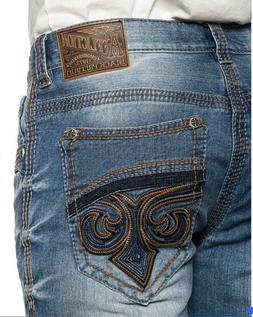 AFFLICTION Men Denim Jeans ACE FLEUR CHICAGO Embroidered BKE