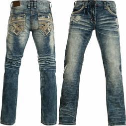 AFFLICTION Men Denim Jeans BLAKE FLEUR RUSTON Embroidered BK