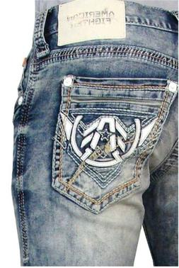 AMERICAN FIGHTER Men Denim Jeans LEGEND BATTLE FRAZIER Buckl