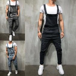 Men Distressed Denim Overalls Suspender Trousers Bib Pants S