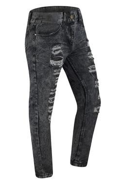 Men Distressed Ripped Jeans Black Gray Regular Fit Denim Cha