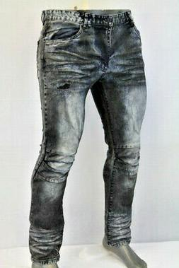 Smoke Rise MEN FADED DISTRESSED OIL LOOK SLIM FIT JEANS BLAC