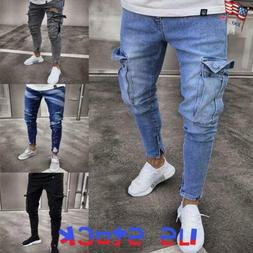 Hanglin Trade Mens Ripped Skinny Distressed Destroyed Straight Slim Jeans with Holes
