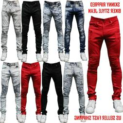 MEN Jeans BIKER SKINNY FIT RIPPED JEAN Trousers Casual Pants