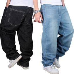 2c32a0bff7 Editorial Pick Men Jeans LOOSE Baggy Loose Denim Hip-Hop Rap Skateboard Pan