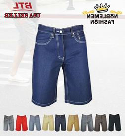 MEN JEANS RAW DENIM 5-POCKET SHORTS RELAXER FIT