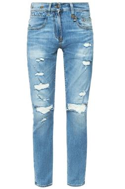 R13 Men Light Blue Straight Legs Jeans With Holes Size 34