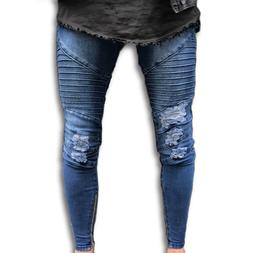 Men Ripped Biker Denim Jeans Distressed Trousers Pants Slim