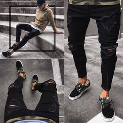 Men's Ripped Knee Hole Black Jeans Frayed Destroyed Skinny S