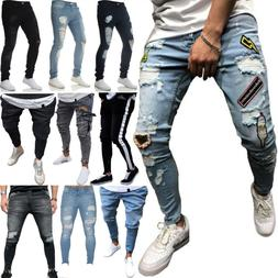 Mens Denim Ripped Jeans Skinny Pants Frayed Biker Jogger Des