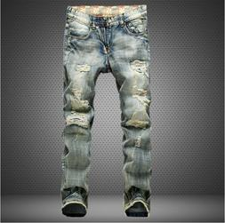 men ripped biker skinny jeans frayed pants