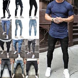 Men Ripped Frayed Jeans Summer Casual Skinny Slim Fit Denim