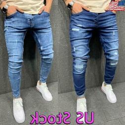 Men Ripped Slim Fit Jeans Super Stretch Denim Pants Skinny F
