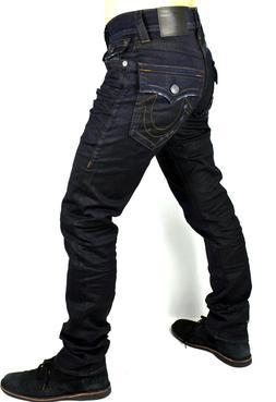 True Religion Men's $249 Geno Coated Black Crater Slim Jeans