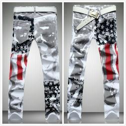 Men's American Flag Printed Distressed Jeans Slim Fit Long P